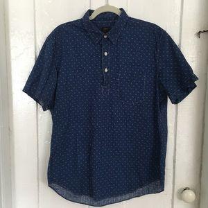 J Crew Popover Shirt arrow dots microdots